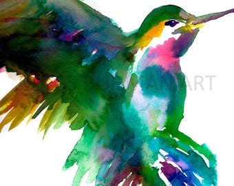 Watercolor Print of Hummingbird, Hummingbird Painting, Hummingbird Watercolor, Bird Watercolor, Green Hummingbird Art, Bird Painting
