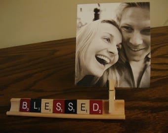 Blesssed- Scrabble message , Desk décor, home décor