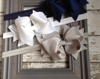 Boutique Baby Girls Set of 3 Navy White Grey Large Hair Bow on Elastic Headband..Perfect for Photo Props Holidays Birthdays