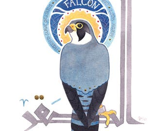 Peregrine Falcon, small painting with kufic calligraphy, natural pigments and gold, original art