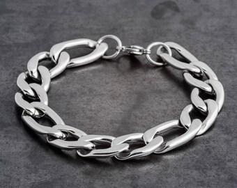"Silver link bracelet, Silver chain Bracelet,  men's Silver Bracelet, Men's Chain Bracelet, womens chain bracelet, 0.7 m""m"