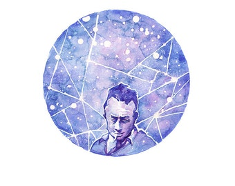 "Albert Camus — [§] Watercolor Painting - 8x10"" or 10x12"" Giclee Print"