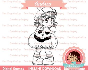 ANDREA Digital Stamp, Scrapbook Stamp, Love Stamp, Scrapbooking Digital Stamp, Instant Download, Zuri Artsy Craftsy