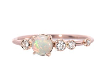 Opal Ring, Opal Engagement Ring, Opal Diamond Ring, Australian Opal Ring, Diamond Cluster Ring, Asymmetrical Ring, October Birthstone, Nixin