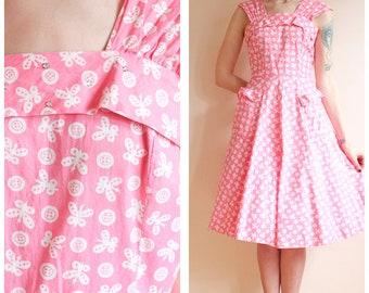 1940s Dress // Button Butterfly Princess Peggy Dress // vintage 40s dress