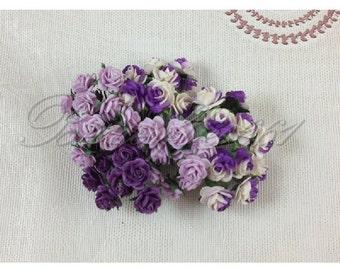 60 Mini Mixed Purple Handmade Mulberry Paper Wedding Scrapbooking Craft Roses HM-601
