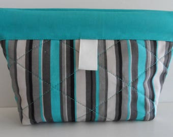 "Cosmetics bag with snap closure, quilted snap pouch, purse organizer, 9"" x 6"", turquoise, gray, black, quiltsy handmade"