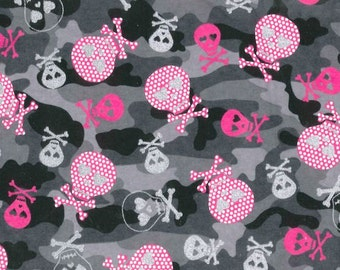SALE! Glitter Skull and Crossbone Cotton Flannel Fabric - Hot Pink Skulls Black Camo by the yard