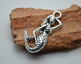 10pcs antique silver mermaid findings 57x30mm