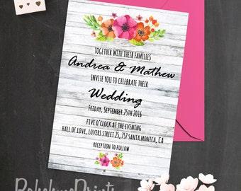Printable Wedding Invitation Bohemian Wedding Invitation Set Summer Wedding Invites Boho Wedding Invitations White Wood Wedding Invitations