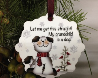 Dog Ornament, Dog Snowflake, Aluminum Snowflake Ornament, Dog Grandchild Ornament, Stocking Stuffer, Gifts Under 10, Something for your dog