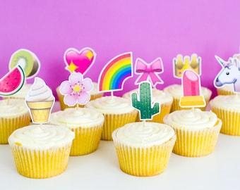EMOJI Cupcake Topper Printable Download Cake Toppers Modern Fun