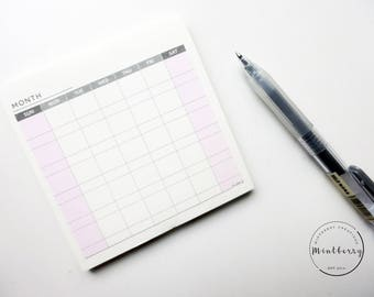 Notepad Monthly Planner Minimalist Pink