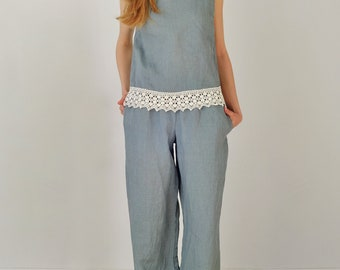 Linen Pants Suit Elegant/ Linen Top Laced/ Linen Blouse Crop Sleeveless/ Linen Pants Wide With Pockets Pure Linen Outfit/Simple And Elegant