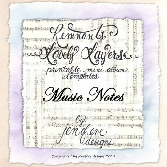 Remnants ~ Lovely Layers Printable Mini album Template in MUSIC NOTES & PLAIN