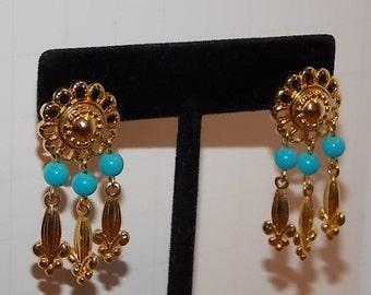 Vintage Dangle Blue and Gold Tone Pierce Earrings