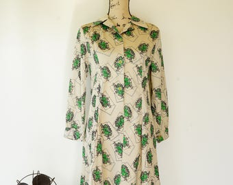 Free Shipping! Vintage Floral Dress Size M, Vintage Japanese Dress, 1980s Dress, Vintage Dress, Womens Dress, Retro Clothing, Flower Dress