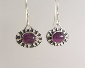Sterling Silver Starburst Earrings with Amethyst