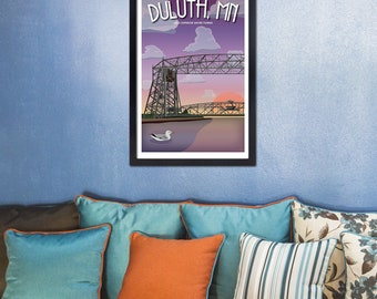 Lake Superior Shore Towns Series: Art Deco Aerial Lift Bridge Duluth, MN Travel Poster