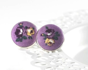 Purple Stud Earrings, Garden Pansy Earring, Viola Fabric Button Earring, Floral Silver Toned Jewelry, Gift for Quilters, Retrolook Jewelry