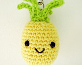 Pineapple keychain, fruit keyring, crochet pineapple