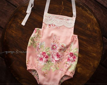 Vintage Inspired Floral Romper - Fabric - Newborn and Sitter Sizes - Photography Prop