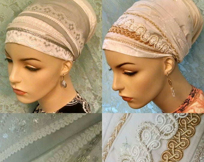 Featured listing image: Save with two, silver and gold Shabbos kodesh sinar tichels, head wrap, apron tichel, head scarf, hair scarf, Jewish hair covering, Shabbat