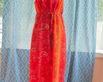 Vintage Gown - Maxi Evening 70s 80s Mod Orange Hawaii Hawaiian Paisley
