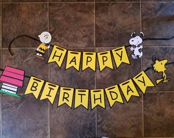 Charlie Brown Banner Snoopy Woodstock Doghouse Happy Birthday banner ready-to-hang with 4 characters
