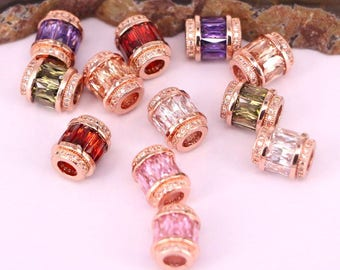 15Pcs Rose Gold Big Hole Beads Metal Micro Pave Cubic Zirconia Crystal Spacer Beads For DIY Jewelry Making Bracelet
