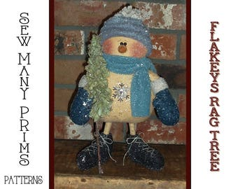 Primitive PATTERN Standing Snowman with Tree - Flakey's Rag Tree -  Sew Many Prims - instant download