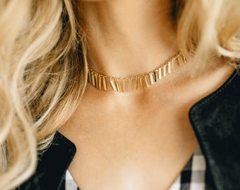 Gold Fringe Choker - gold choker - gold tassel choker - gold chain choker - dainty gold choker - choker necklace - simple gold choker