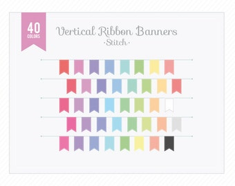 Digital Banner Clip Art Vertical Ribbon Banners Stitched - Instant Download PNG for Graphic Design, Web and Blog, Scrapbooking, Cards...