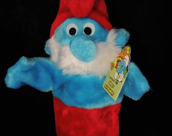 Vintage Papa Smurf Plush Hand Puppet