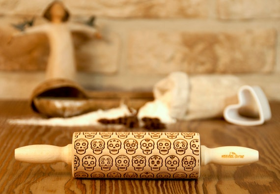 Mexico Skull Día de Muertos Pattern MIDI Wooden rolling pin Roller Engraved Housewarming