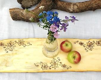 Salvaged Wood Food Display, Wood Burned Food Tray, Wood Table Display, Boho Food Decor