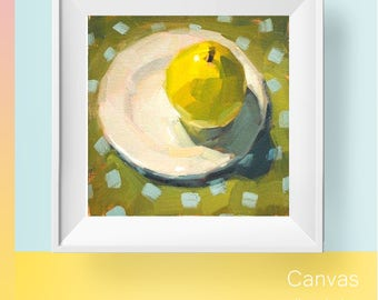 Original oil painting pear small miniature painting original art kitchen art fruit miniature artwork wall decor yellow art still life