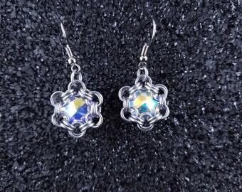 Crystal Rivoli Hexagonal Silver Chainmaille  Earrings