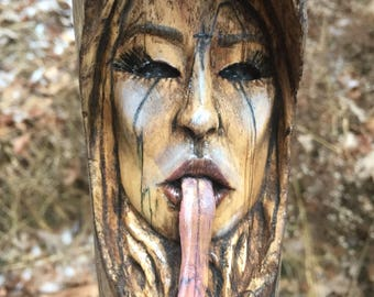 Wood Carving, Girl, Wood Spirit, Evil, Perfect Wood Gift, Scary, Handmade Art, by Josh Carte, Wall Art, Serpent Tongue, Rustic Decor, OOAK