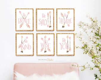 Woodland Themed Girl Nursery, Arrow Woodland Nursery, Nursery Arrows Art, Nursery Wall Art, Be Brave, Be Kind, Be Wise, Be You
