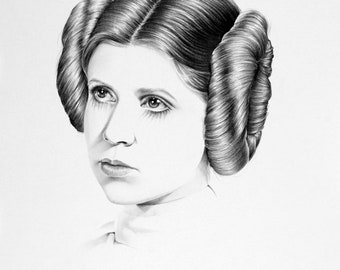 Carrie Fisher Original Pencil Drawing Minimalism Fine Art Portrait