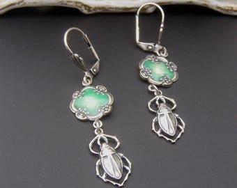 Scarab Earrings, Insect Earrings, Egyptian Jewelry, Green Earrings, Silver Earrings, Insect Jewelry, Great Gift