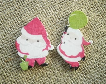Set of two wooden Santa red and white colors