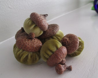 7 Silk Velvet Acorns Topped With Real Acorn Caps