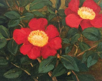 Small painting of Red Camillias by Dotty Hawthorne