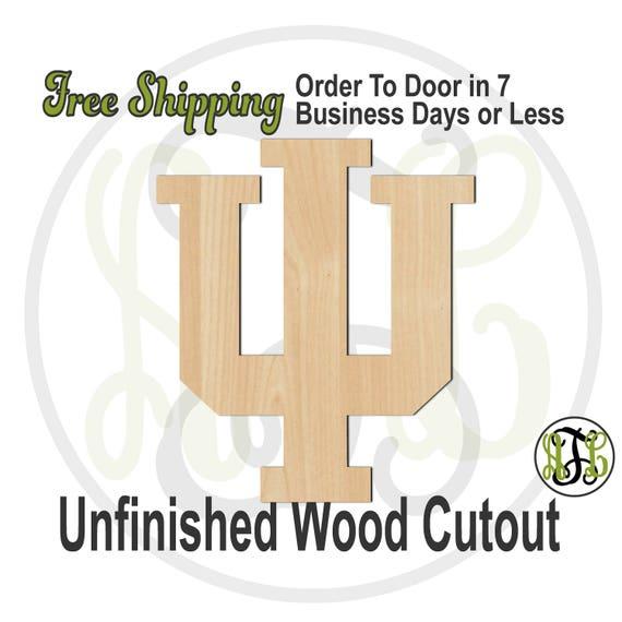 Interlocking I and U - 60185- School Spirit Cutout, unfinished, wood cutout, wood craft, laser cut shape, wood cut out, Door Hanger, wooden