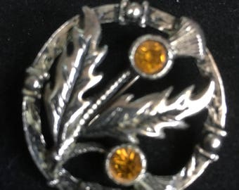 Celtic  Silvertone Thistle Brooch Faceted Glass Amber Stones unsigned