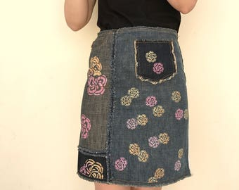 Moschino vintage denim high waisted skirt with flower prints
