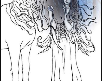 coloring page printable angel dragon fantasy art gothic. Black Bedroom Furniture Sets. Home Design Ideas