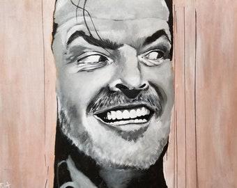 Jack Nicholson,  the Shining, horror, Here's Johnny, Stephen King, portrait, art, fan art, wall decor, present